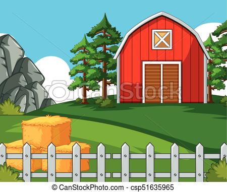 Background scene with barn and hay.