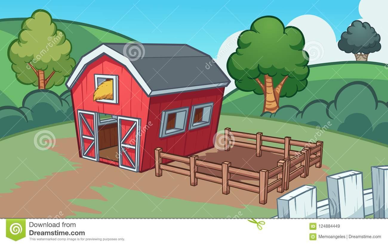 Cartoon farm with red barn stock vector. Illustration of farm.