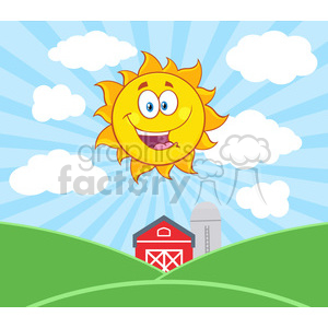 royalty free rf clipart illustration sunshine happy sun mascot cartoon  character vector illustration with farm barn and silo fields background ..