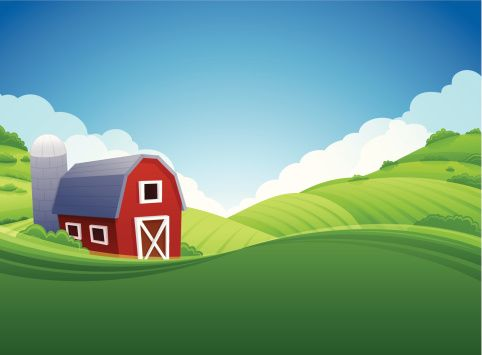 Red Barn Vector Art.