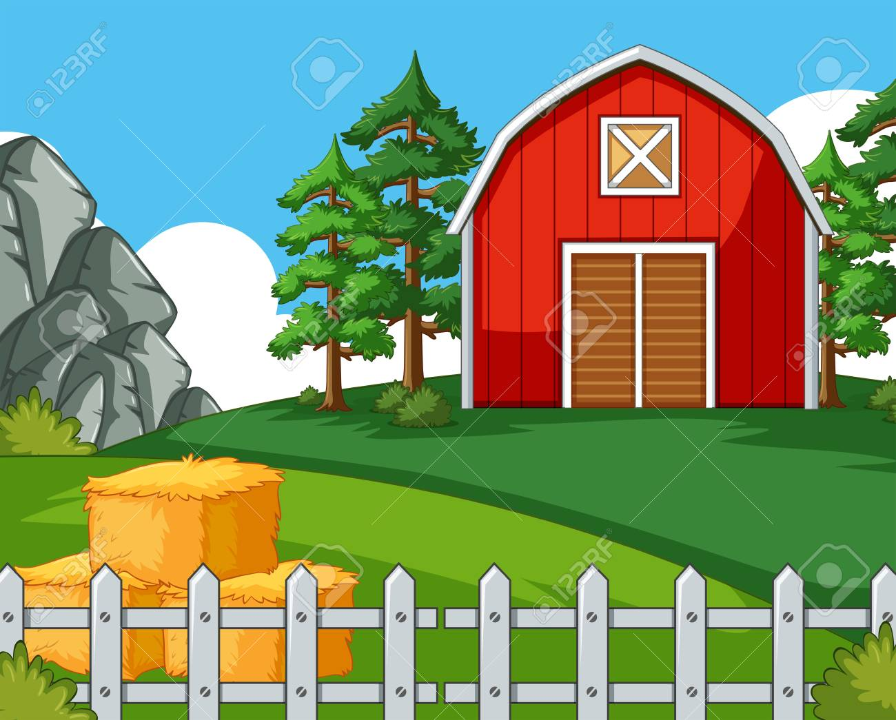 Background scene with barn and hay illustration.