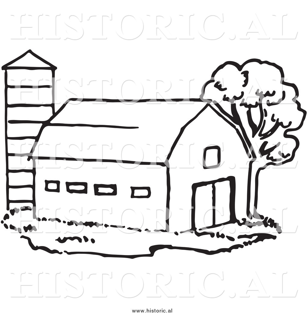 Historical Clipart of a Barn Beside Silo and Tree.
