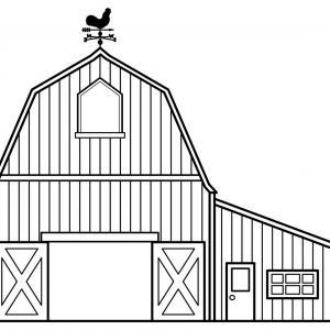 Barn Church House Black And White Clipart.