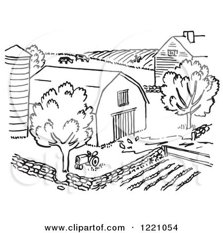 Farm House Barn Clipart Black And White