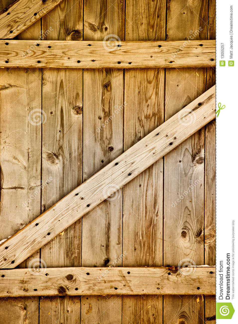 Wooden Rustic Barn Door Detail. Royalty Free Stock Photography.
