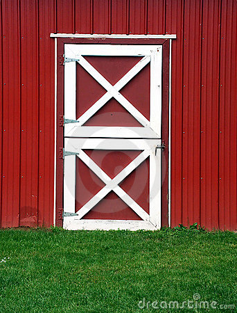 Red Barn Door Stock Photo.