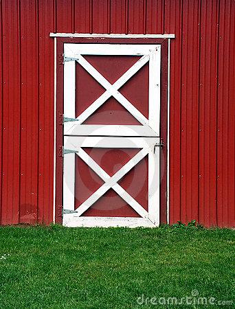 Red Barn Door Stock Photo.