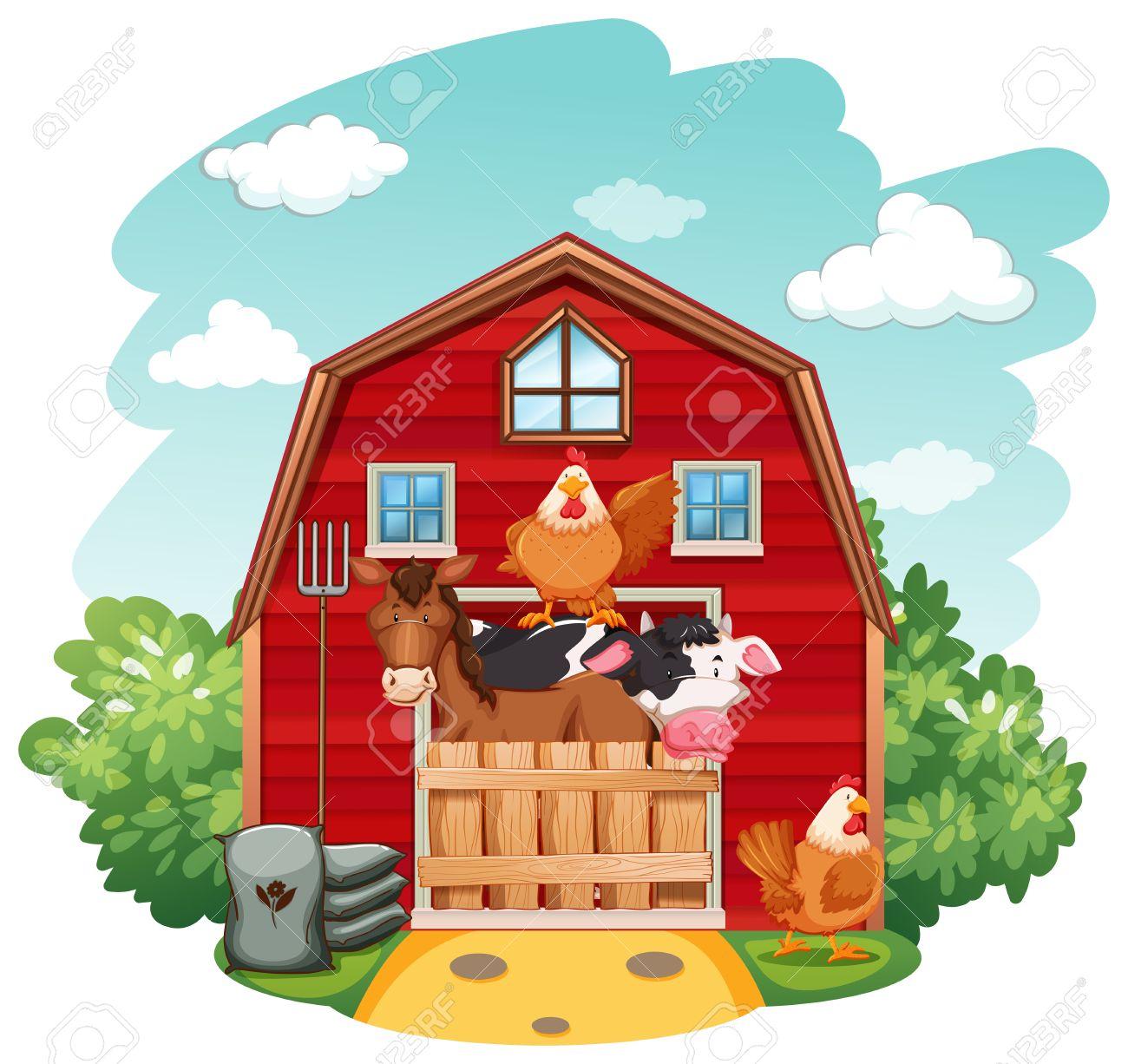 Farm animals in the barn.