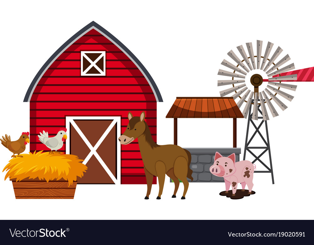 Farm animals and red barn.