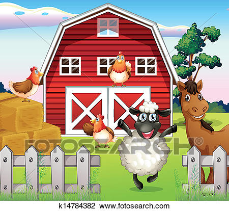 Animals at the farm with a barnhouse Clipart.