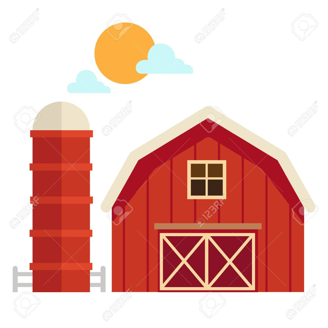 illustration of isolated barn house on white background vector.