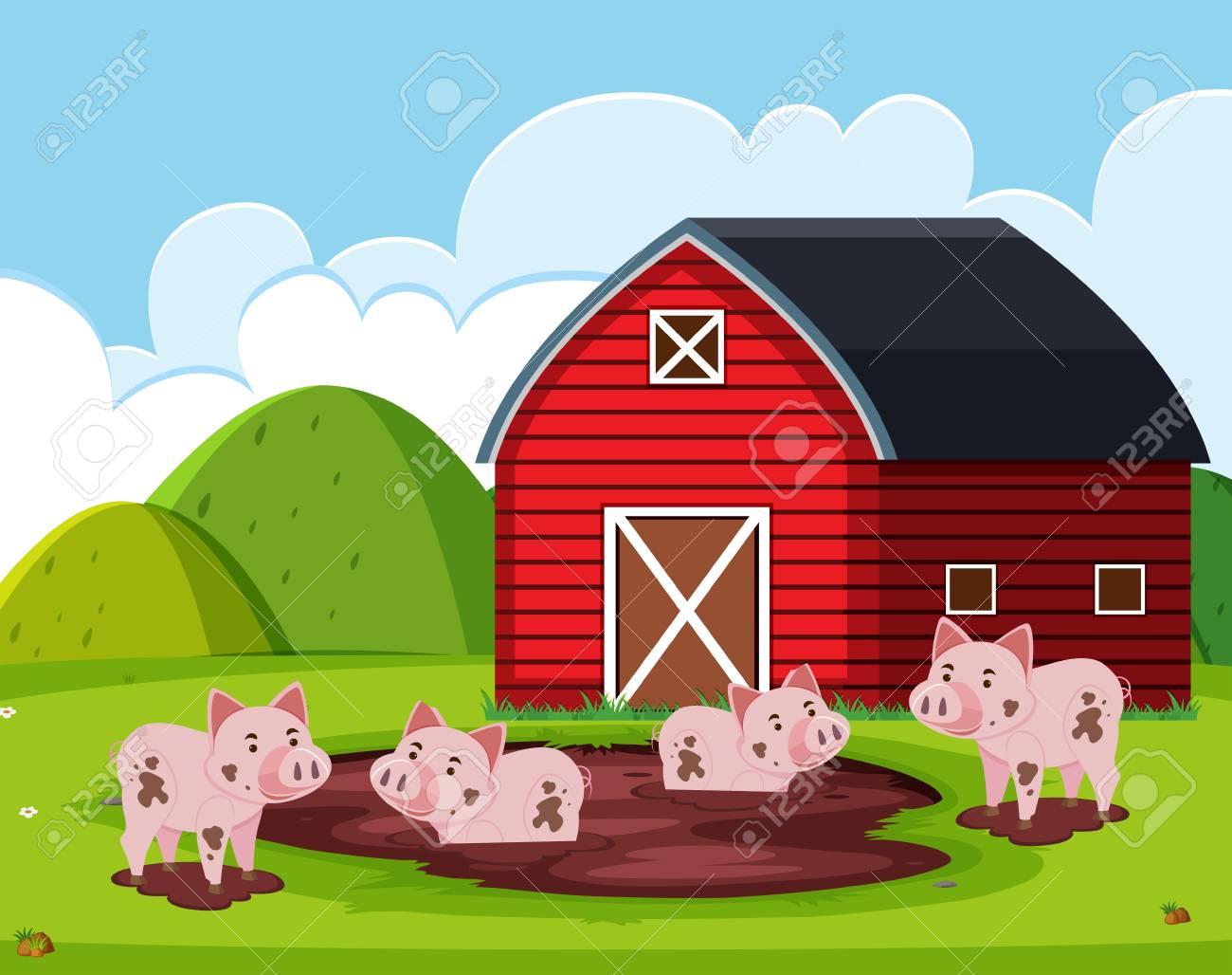 Pig at the barn house illustration.