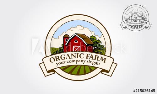 Organic Farm logo Illustration. Cartoon illustration of red.