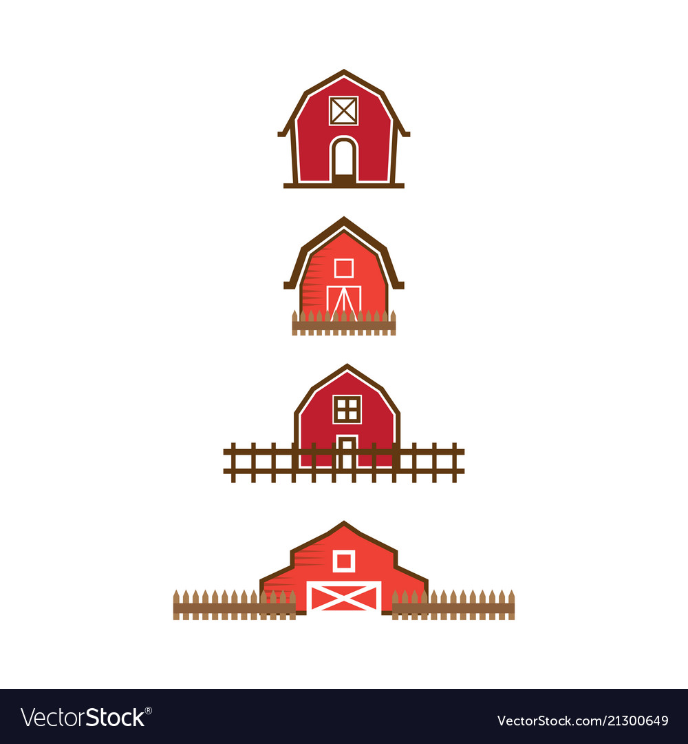 Red barn logo design template.