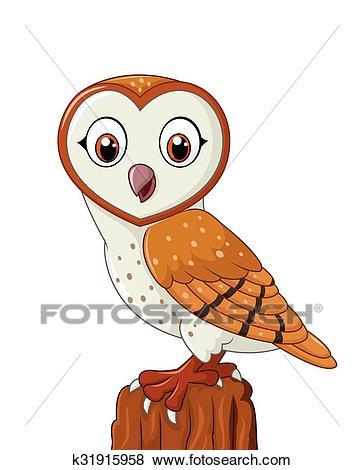 Cartoon barn owl isolated Clip Art.