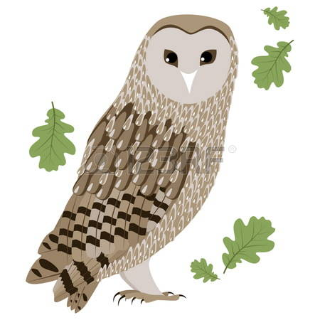 Barn owl swallowing mouse clipart.