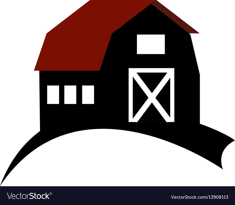 Monochrome silhouette with barn of two floors.