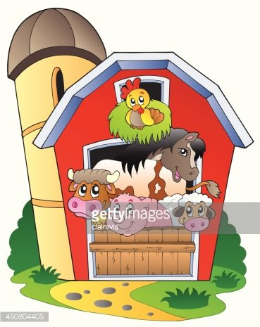 Barn with various farm animals Clipart Image.