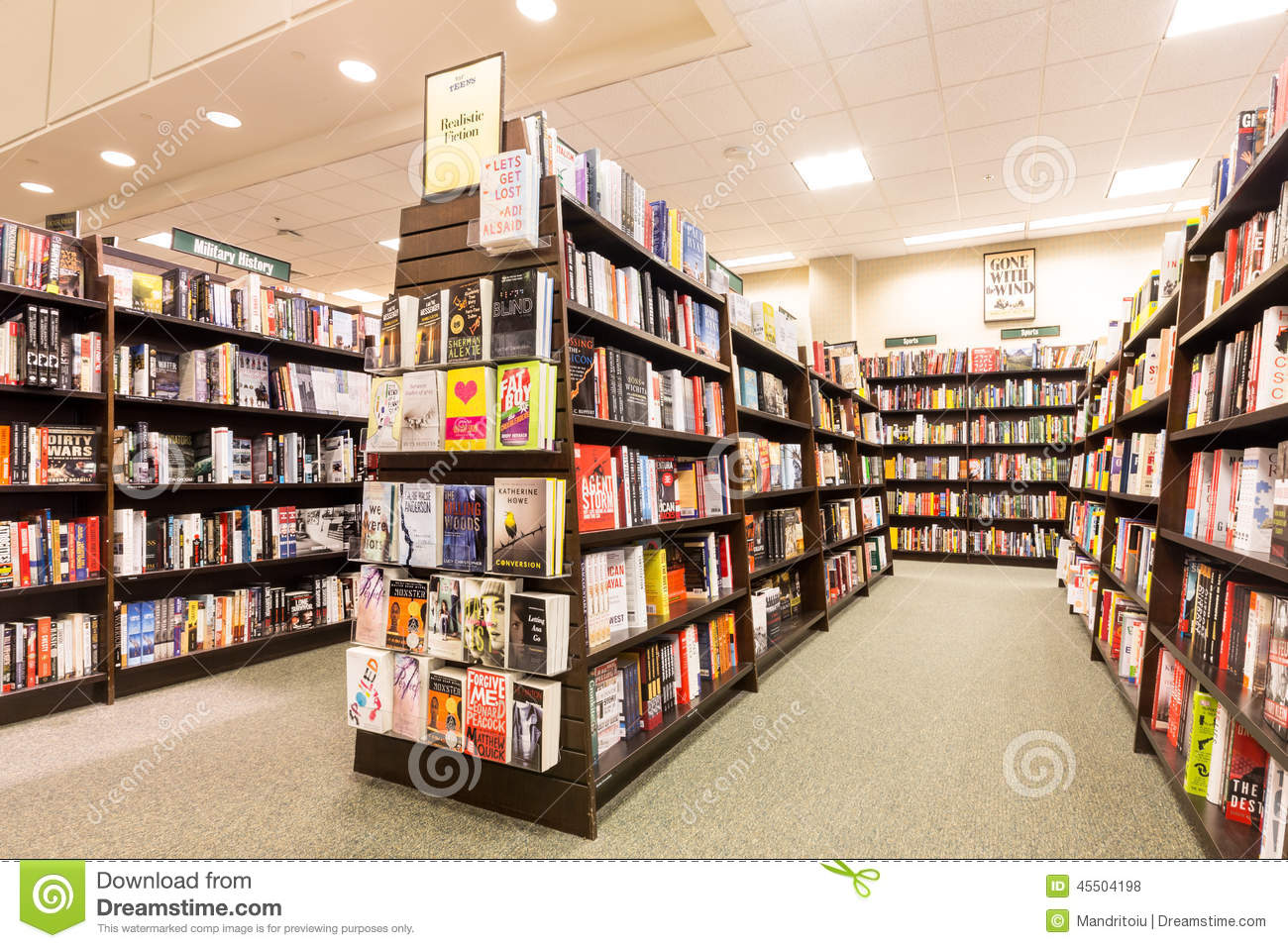 Bookshelves In A Barnes & Noble Bookstore Editorial Stock Photo.