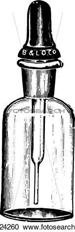 Clipart of Dropping bottle with Barnes dropper, which closes the.