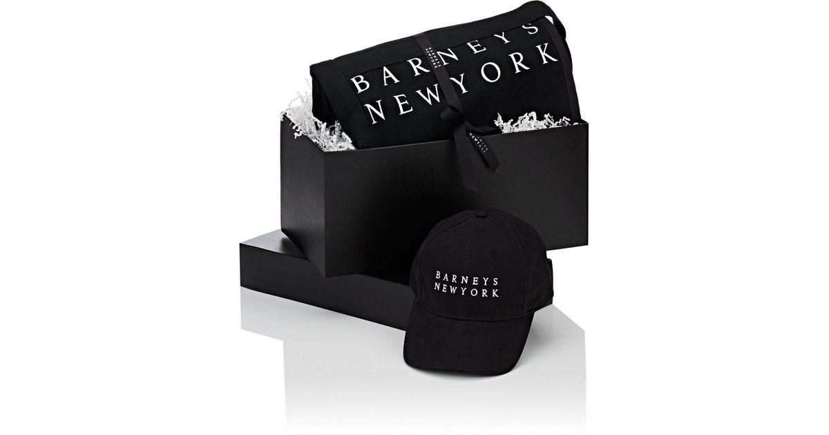 Barneys New York Black Logo Baseball Cap & Tote Bag Gift Box.