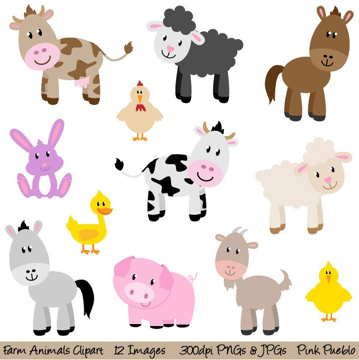 Farm Animals Clipart, Farm Animals Clip Art, Barnyard.