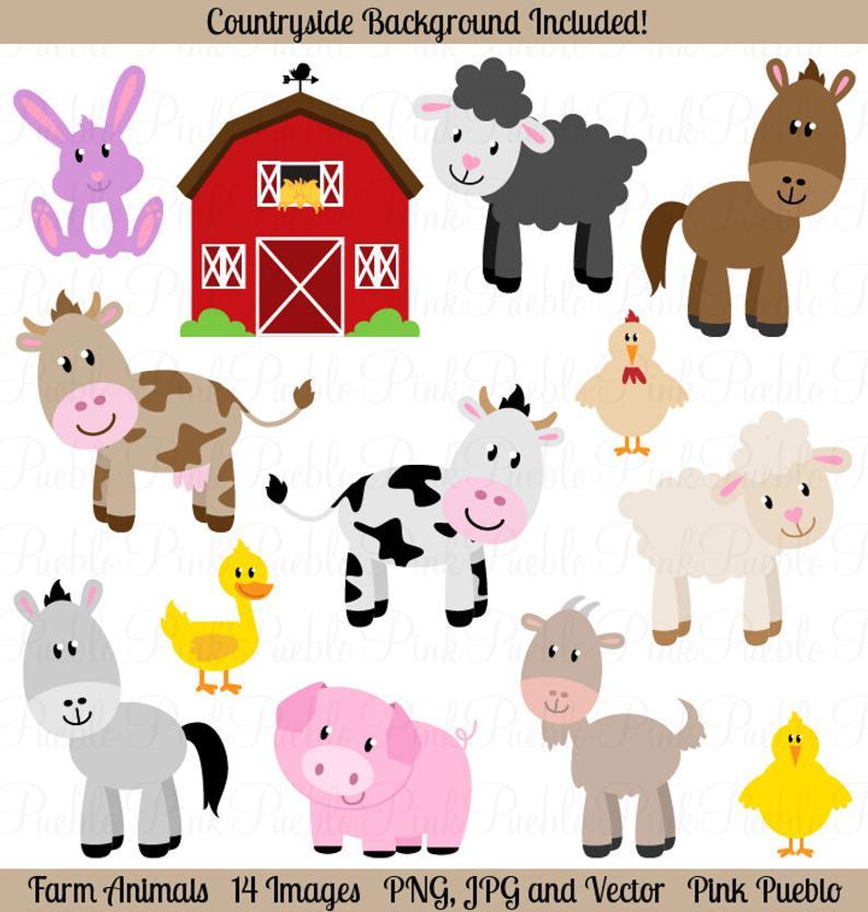 Farm Animals Clipart, Farm Animals Clip Art, Barnyard Clipart, Barnyard  Animals Clip Art.