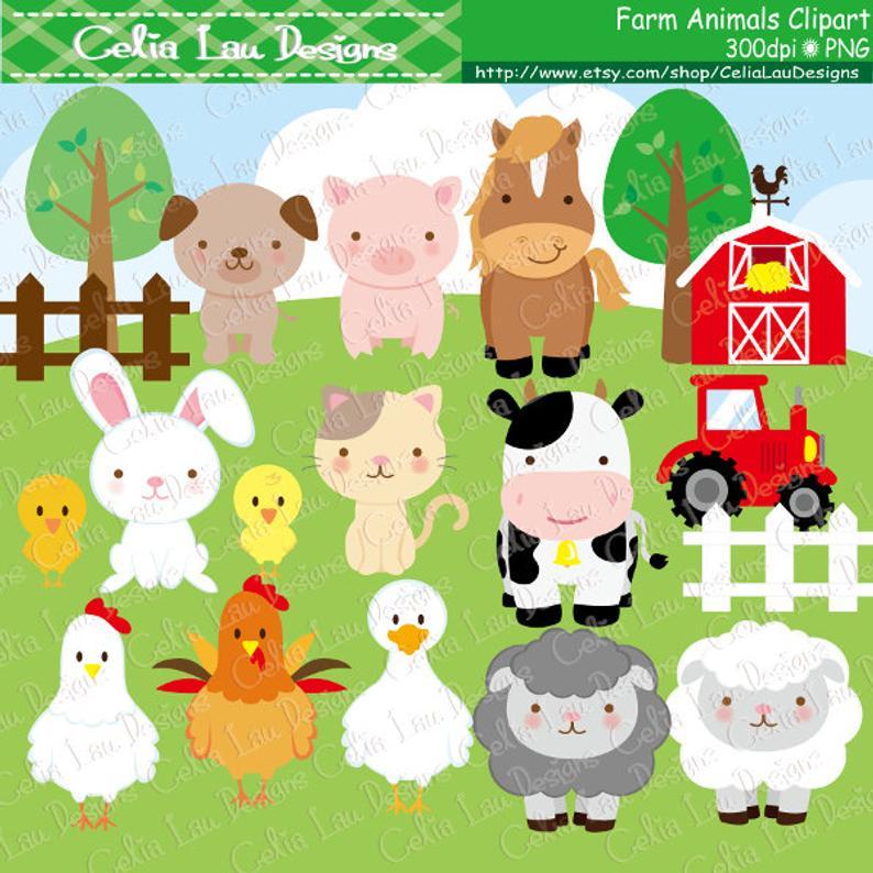 Farm animals Clipart, cute farm animals clip art ,farm clipart , farm party  , barnyard animals (A033).