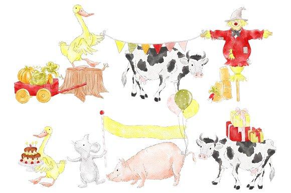 Farm Party Barnyard Animals Clipart.
