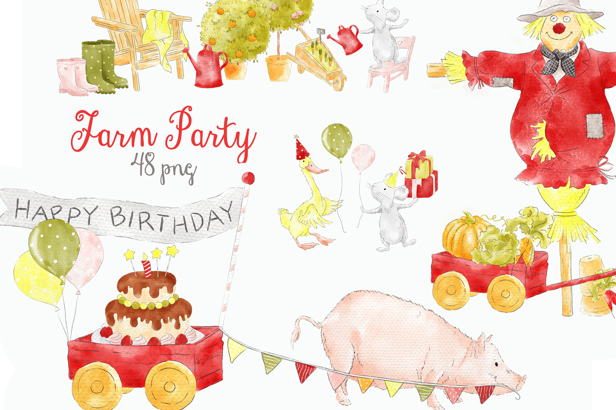 Farm Party Barnyard Cute Animals Clipart.