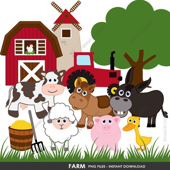 Farm Clipart, Barnyard Clip Art, Farm Animals Clipart, Graphics for  Birthday Party Invitations Scrapbook INSTANT DOWNLOAD CLIPARTS C58.