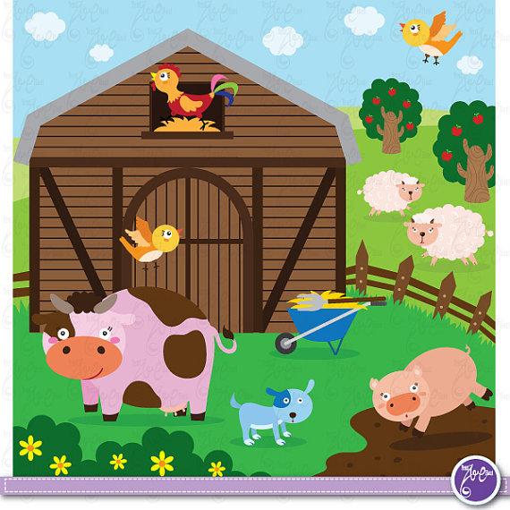 Farm Animals Clip Art, Cute animals, barnyard animals,cow,sheep.