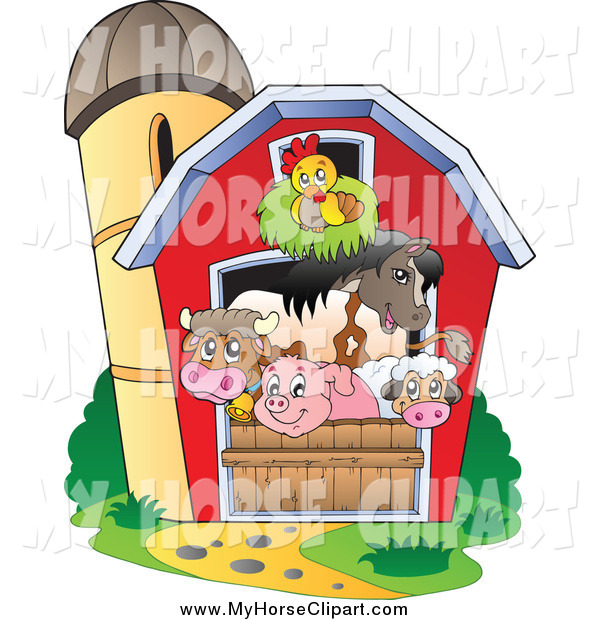Clip Art of a Group of Barnyard Animals in a Barn by visekart.