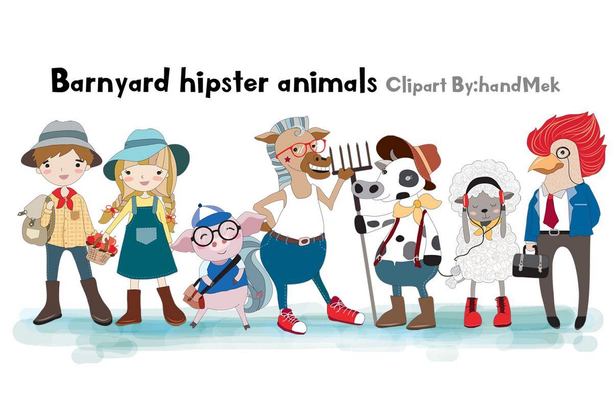 barnyard hipster animals clipart.