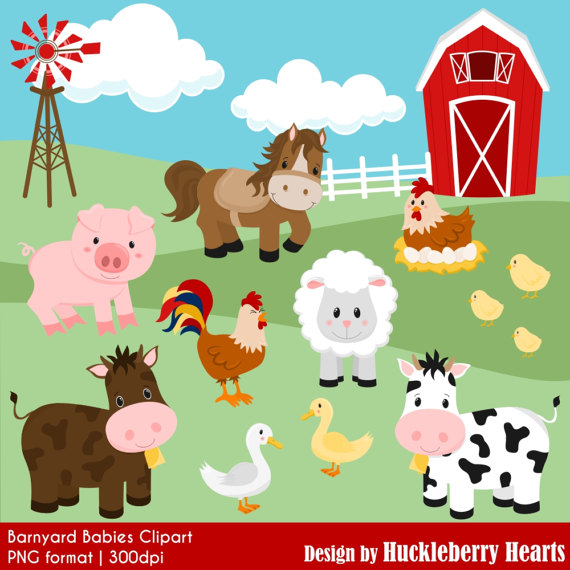 Farm Clipart, Barnyard Clipart, Cow Clipart, Horse Clipart, Pig.