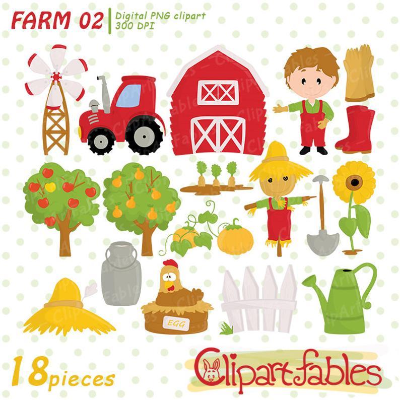 Farm clipart, nice barnyard clip art, cute tractor, barn, fence graphic.  Instant download, digital clipart.