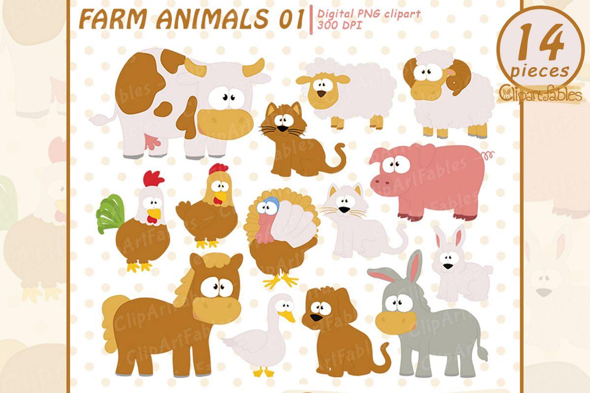 Farm clip art set, Barnyard clipart, cute farm animals.