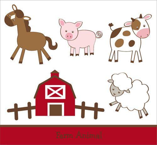 Farm Animal Barnyard Clip Art INSTANT by LittlePrintsParties.