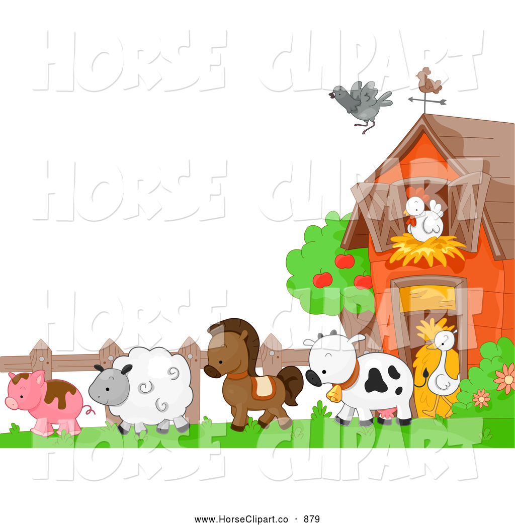 Clip Art of AHorse and Farm Animals in a Barnyard by BNP Design.