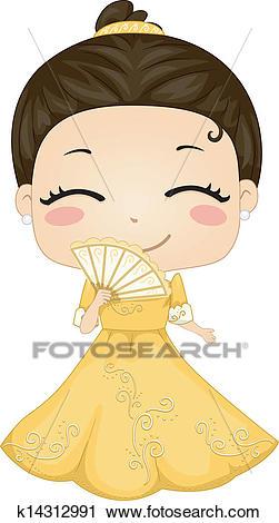 Little Filipina Girl Wearing National Costume Baro't Saya.
