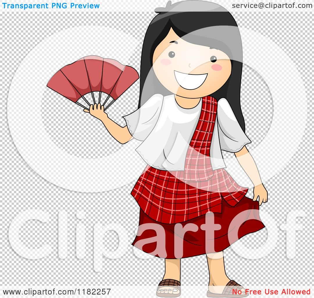 Cartoon of a Happy Filipino Girl in a Traditional Costume.