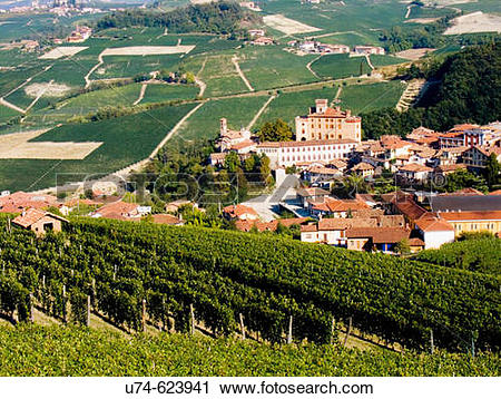 Stock Photography of Italy, Piedmont, Barolo village in Langhe.
