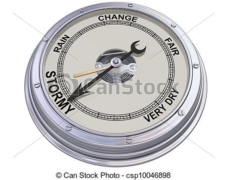 Stock Illustration of Barometer indicating stormy weather.