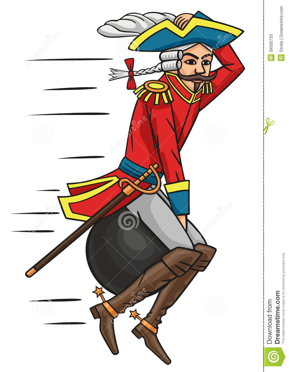 Baron Munchausen. Stock Vector.
