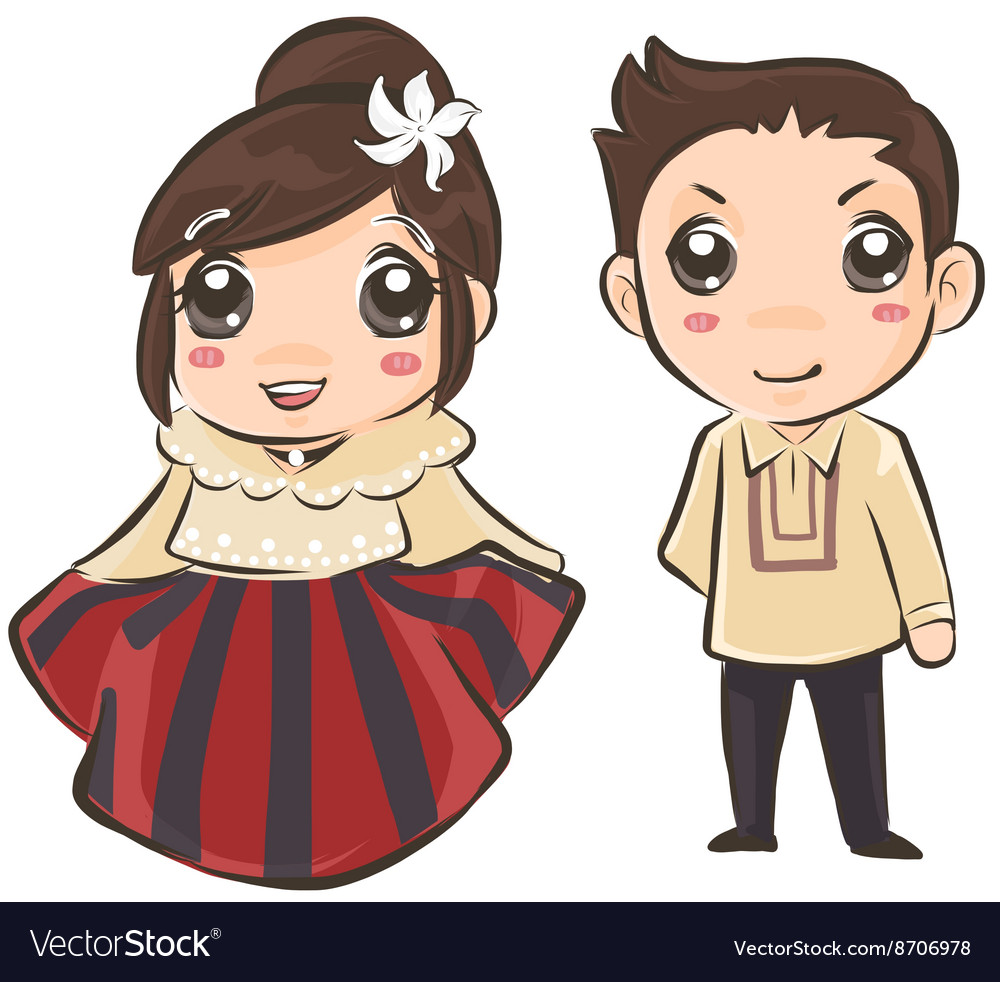 Couple wearing Philippines traditional costume.