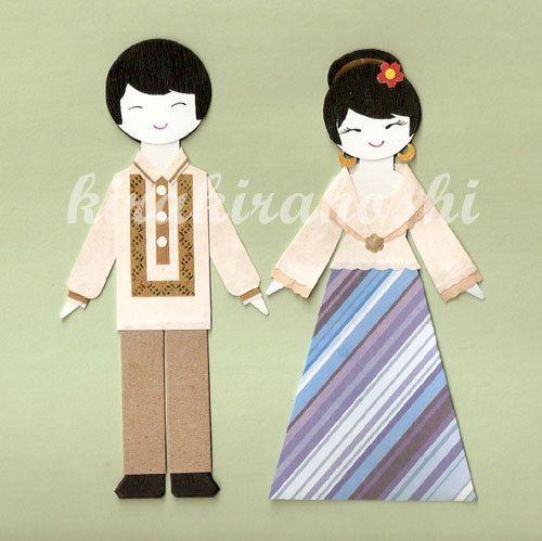 FILIPINO BOY and GIRL Couple in Barong Tagalog and Maria.