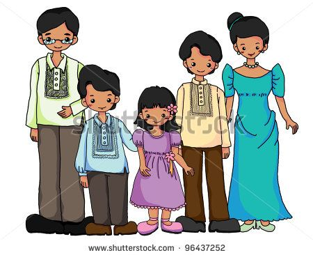 Filipinos Family In Filipinos Traditional Costume Stock.