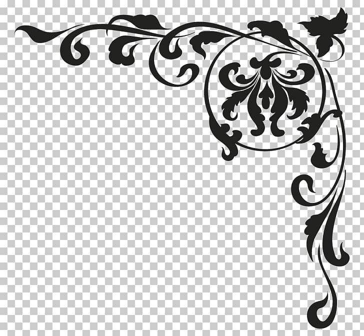 Sticker Baroque Wall decal Art, baroque, black damask border.