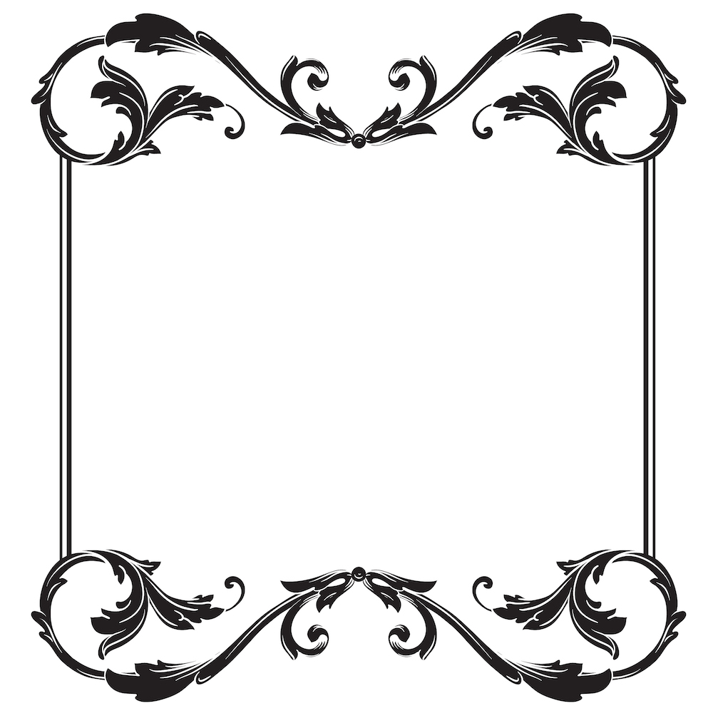 Silhouette Baroque Border ornament decorative vector download.