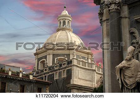Stock Photo of Catholic church of Catania. Sicily, southern Italy.